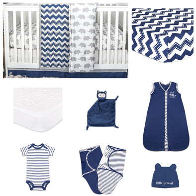 The Peanut Shell Eli Chevron 11 Piece Sleep Essentials Crib Set In Navy & Grey