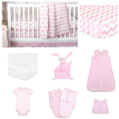 The Peanut Shell Ellie Chevron 11 Piece Sleep Essentials Crib Set In Pink