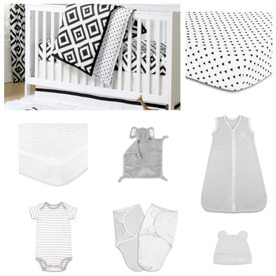 The Peanut Shell Deco Diamond 11 Piece Sleep Essentials Crib Set In Black & White