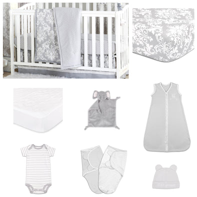 The Peanut Shell Damask Dot 11 Piece Sleep Essentials Crib Set In Grey