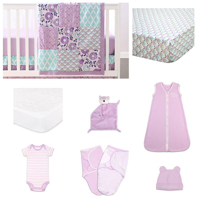 The Peanut Shell Zoe 11 Piece Sleep Essentials Crib Set