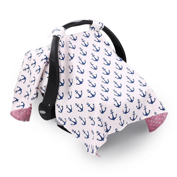 The Peanut Shell Pink & Navy Anchor Canopy Cover