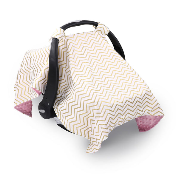 The Peanut Shell Pink & Gold Chevron Canopy Cover
