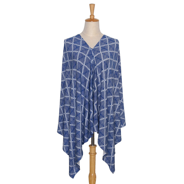The Peanut Shell 6-In-1 Nursing Poncho In Navy Aztec