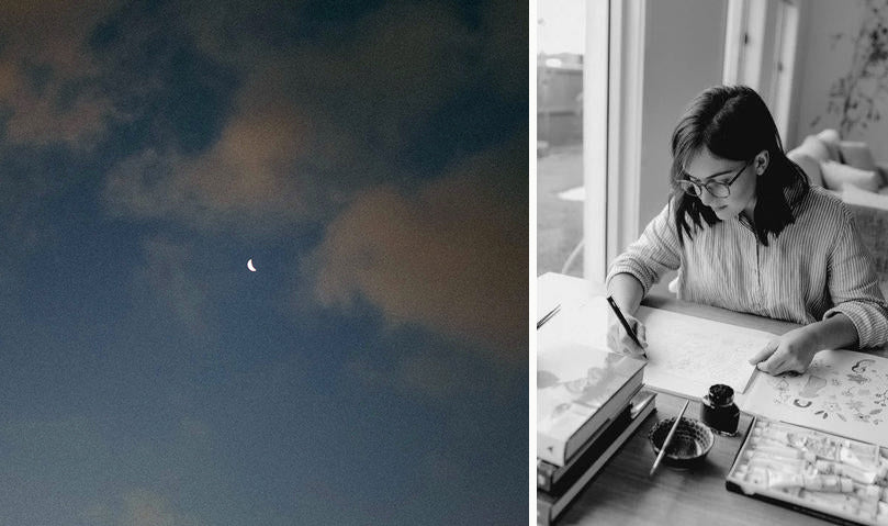 Moon in night sky and Jenna drawing artwork at workdesk