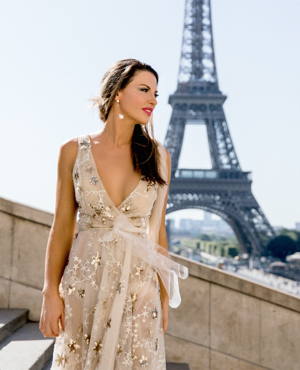 "Elizabeth Grace Couture blog. Steph Adams wearing our ""A Star is Born"" wedding dress inspired gown to Paris Fashion Week"