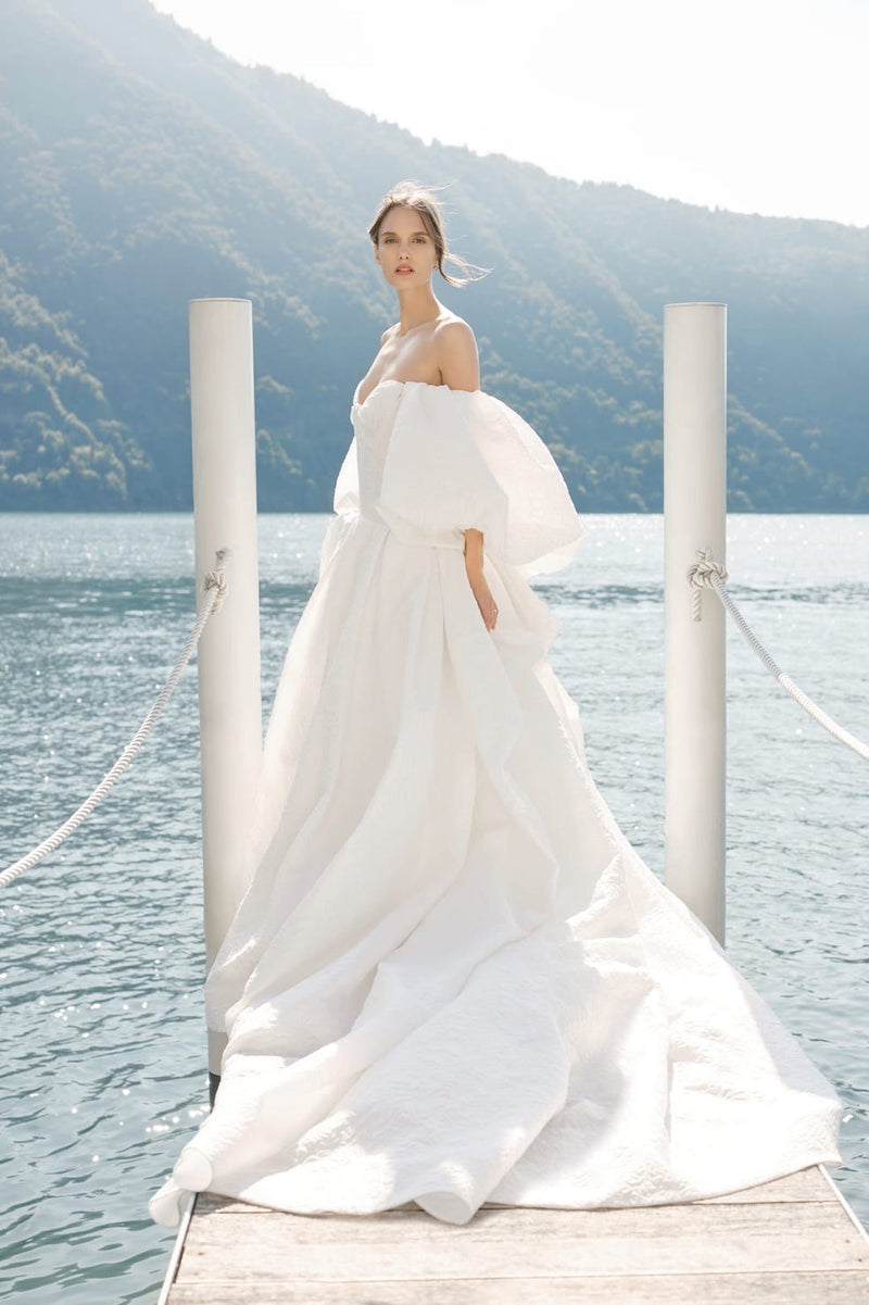 Elizabeth Grace Couture Blog. Fall 2020 bridal trends - Puff/bell sleeve wedding dress