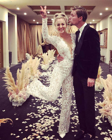 9 Times Celebrities Ditched Tradition And Wore A Bridal Jumpsuit Down Elizabeth Grace Couture