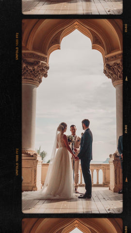 Brie Befell wearing Elizabeth Grace Couture on her wedding day in Italian castle
