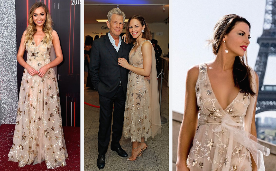 "Katharine McPhee, Tilly Keeper & Steph Adams wearing Elizabeth Grace Couture ""A Star is Born"" Gown"
