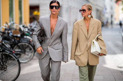 Fashionistas wearing oversized suits