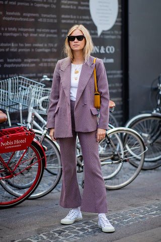 Textured suit worn by instagram influencer