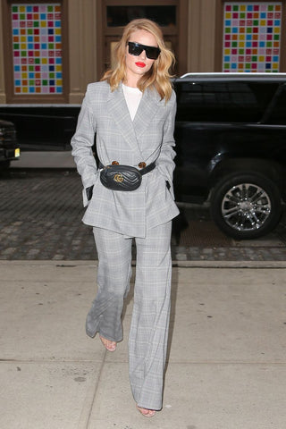 Rosie Huntington-Whiteley wearing checked pantsuit