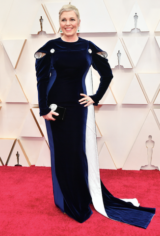 Elizabeth Grace Couture blog. Olivia Coleman wearing sustainable dress from Stella McCartney to the Oscars 2020