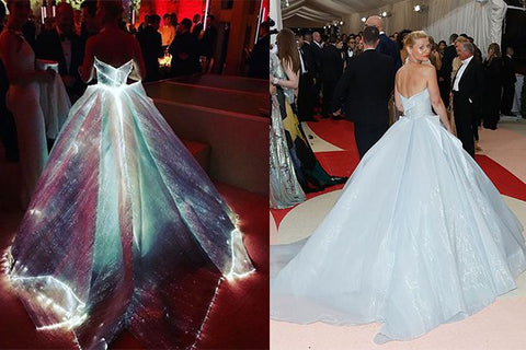 Claire Danes in Zac Posen bridal inspired light up gown for the Met Gala