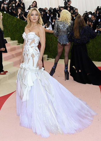 Kate Hudon in Versace wedding inspired gown for the Met Gala