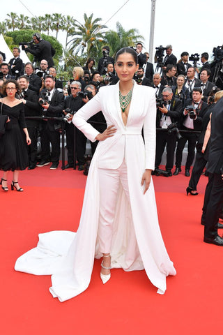 Sonam Kapoor in Ralph & Russo bridal inspired tuxedo at Cannes Film Festival