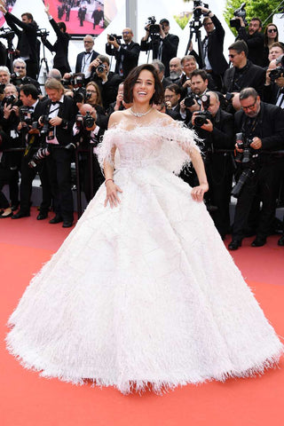 Michelle Rodriguez in Rami Kadi bridal inspired gown at Cannes Film Festival