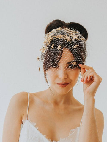starburst glitter birdcage bridal star veil by crown and glory