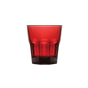 0315424-TR Polysafe Rocks Tumbler Stackable Red Chemworks Hospitality
