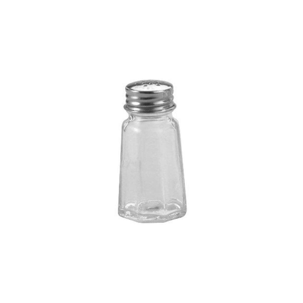 06650-T Salt & Pepper Shaker - Flat Paneled Stainless Steel Top / Glass Body 30ml