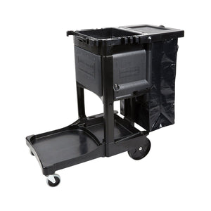 1002386 Rubbermaid Executive Seriers Cleaning Cart - Black 876x298x975mm Chemworks Hospitality Canberra