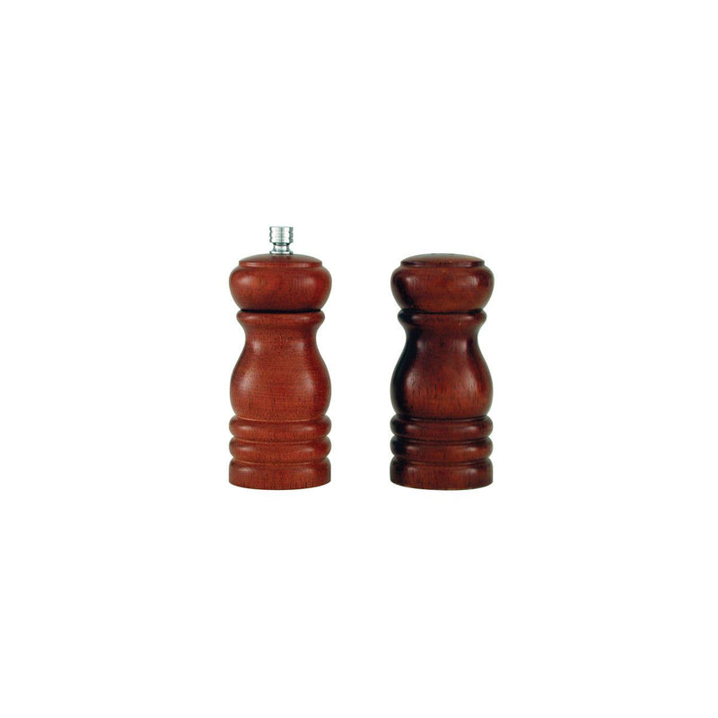 40506-TR Salt Shaker & Pepper Mill Set - Dark Wood 150mm
