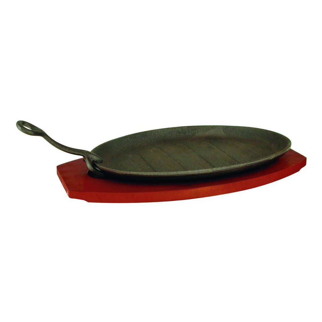 41021-TR Steak Sizzler Grey Cast Iron Plate | Wood Base 290x180mm  Chemworks Hospitality Supplies Canberra