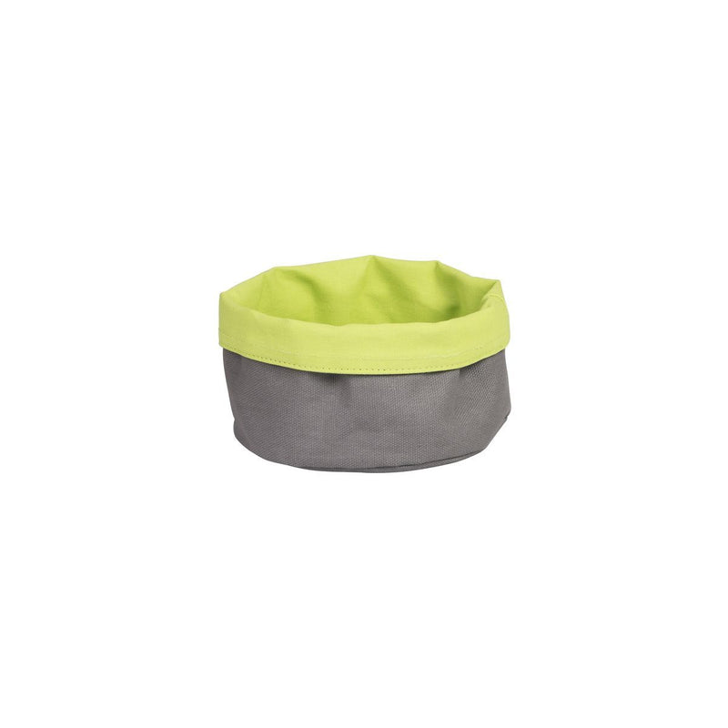 41617-L-TR Canvas Bag - Round Charcoal / Lime 170x70mm