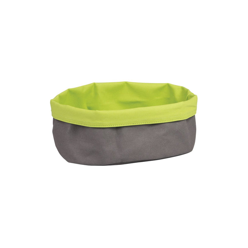 41645-L-TR Canvas Bag - Oval Charcoal / Lime 250x180x90mm