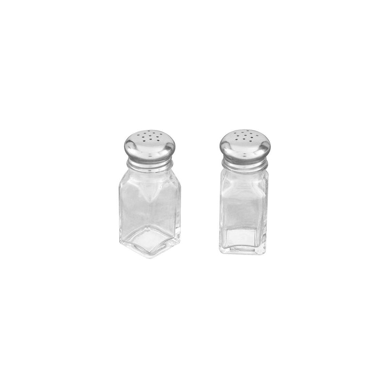 70462-TR Salt & Pepper Shaker Square Stainless Steel Top / Glass Body 60ml