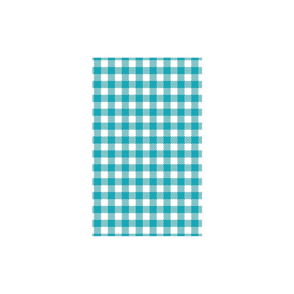 74212-TR Teal Gingham Greaseproof Paper 190x310mm Chemworks Hospitality Canberra