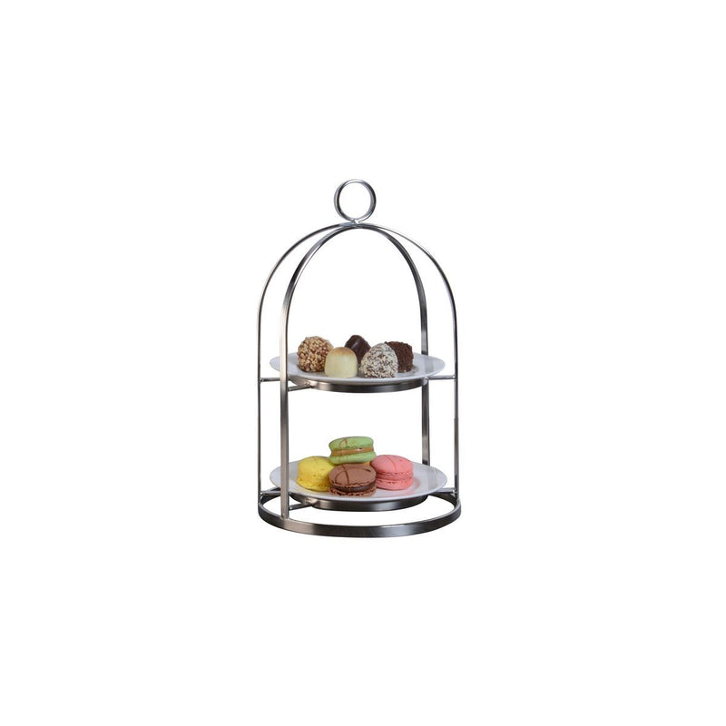 74678-TR Athena Mandarin Tea Stand 18/10 Stainless Steel With Tempered Glass Shelf 2 Tier 176x294mm