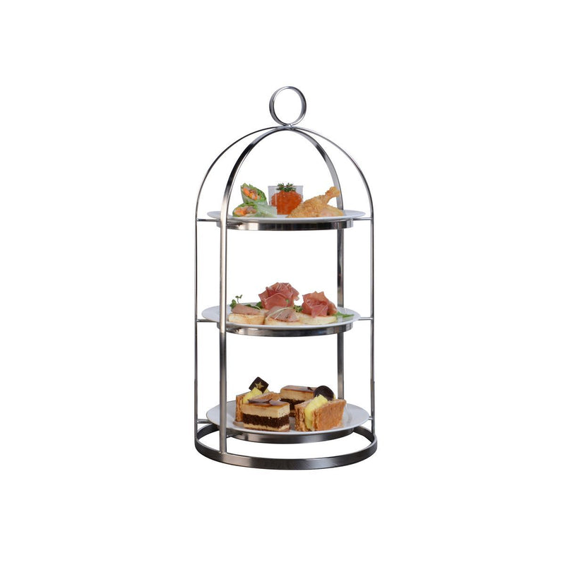 74679-TR Athena Mandarin Tea Stand 18/10 Stainless Steel With Tempered Glass Shelf 3 Tier 230x460mm