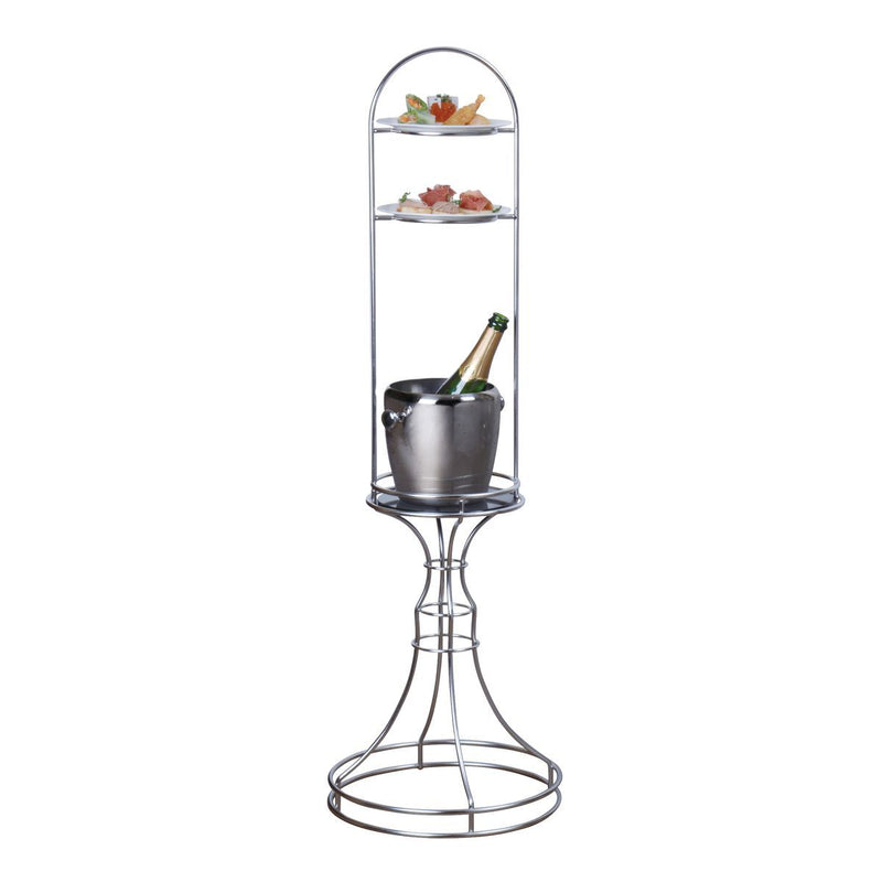 74695-TR Athena Luxury High Tea Stand 18/10 Stainless Steel With Tempered Glass Shelf 360x1165mm