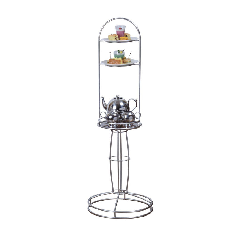 74696-TR Athena Luxury High Tea Stand 18/10 Stainless Steel With Tempered Glass Shelf 360x1065mm