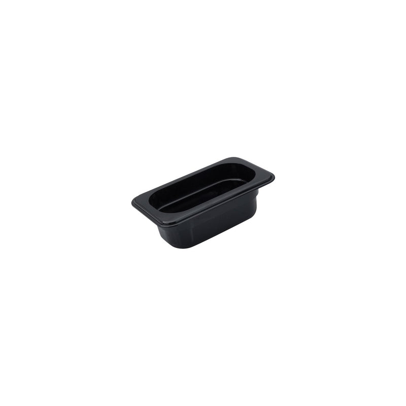 850904-TR 1/9 Size Polycarbonate Food Pan - Black 0.85Ltr Chemworks Hospitality