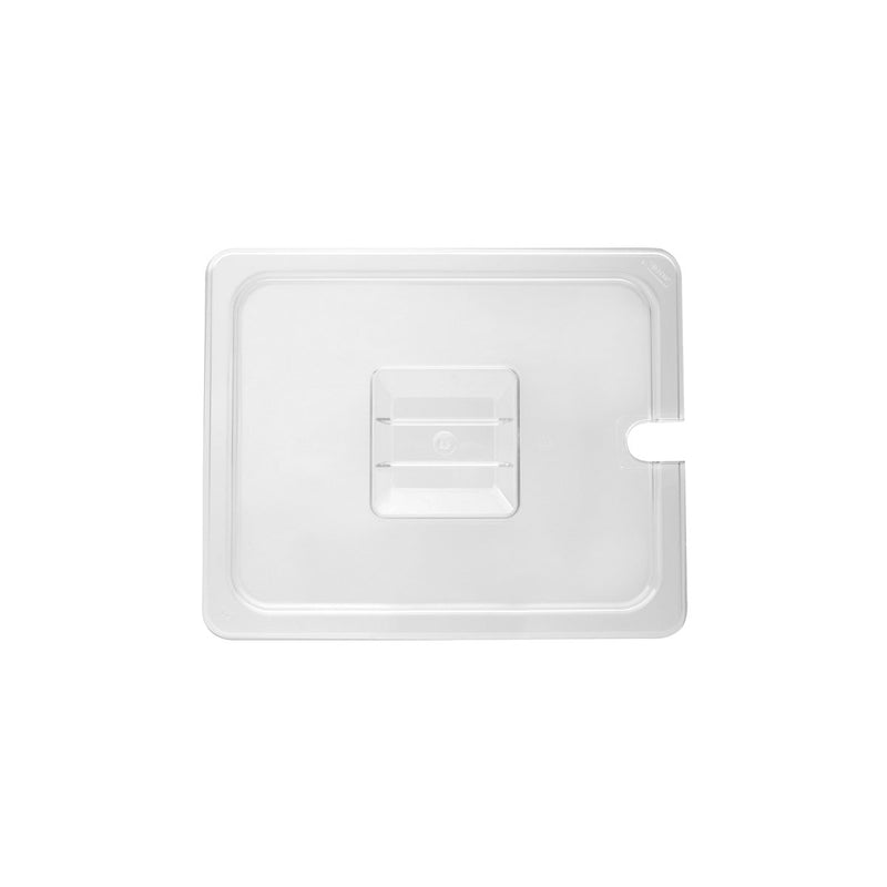 852201-TR 1/2 Size Steam Pan Cover - Clear Polycarbonate, Notched Chemworks Hospitality