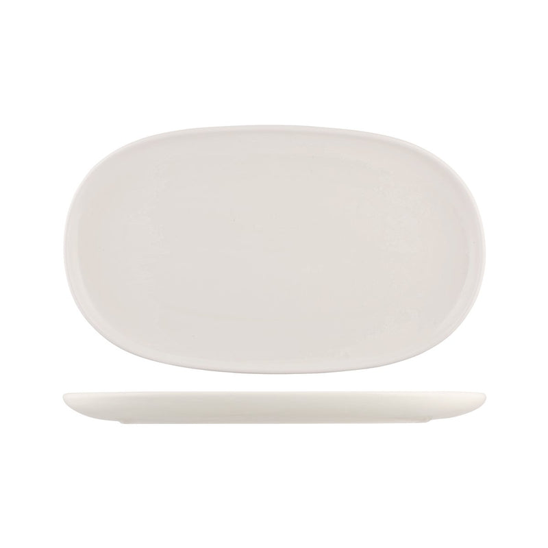 926546 Moda Porcelain Snow Oval Coupe Plate 405x240mm Chemworks Hospitality Canberra