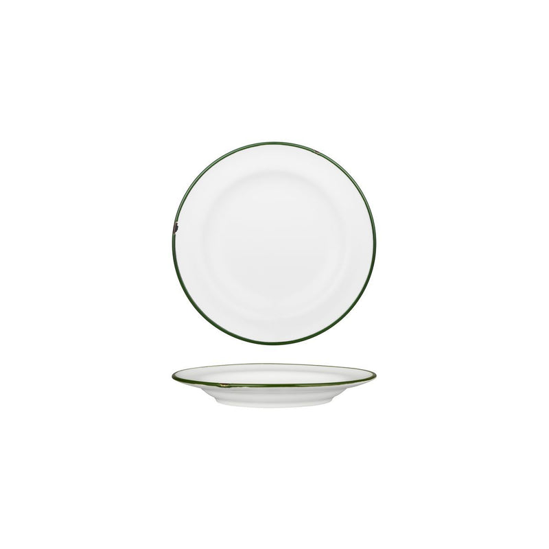 94106-WG Luzerne Tintin White / Green Round Wide Rim Plate 170mm Chemworks Hospitality Canberra
