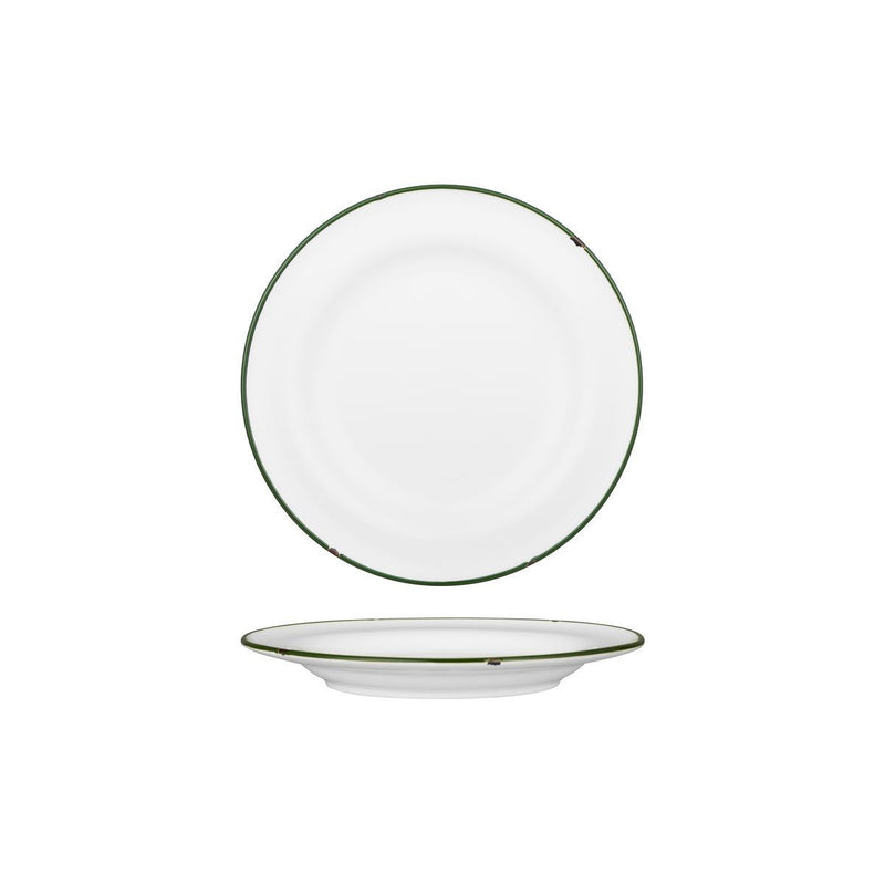 94108-WG Luzerne Tintin White / Green Round Wide Rim Plate 210mm Chemworks Hospitality Canberra