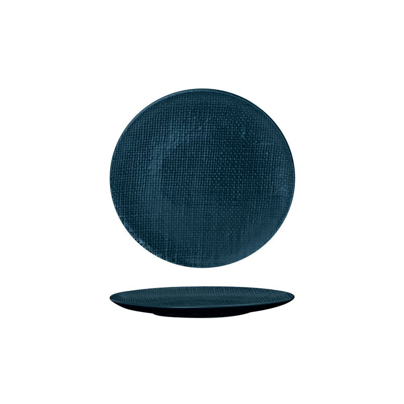 94507-BL Luzerne Linen Navy Blue Round Flat Coupe Plate 180mm Chemworks Hospitality Canberra