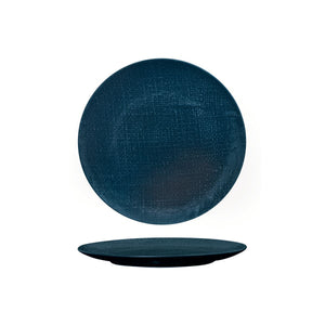 94508-BL Luzerne Linen Navy Blue Round Flat Coupe Plate 210mm Chemworks Hospitality Canberra