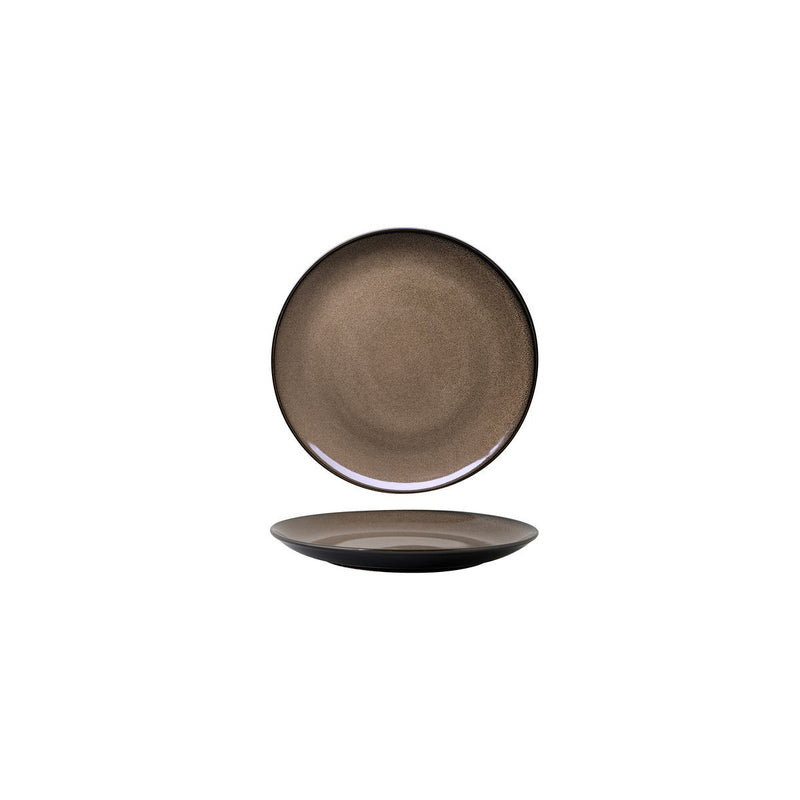 948501 Luzerne Rustic Chestnut Round Flat Coupe Plate 165mm Chemworks Hospitality Canberra
