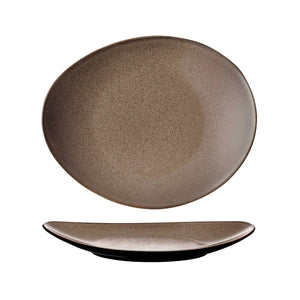 948533 Luzerne Rustic Chestnut Oval Coupe Plate 290x245mm Chemworks Hospitality Canberra