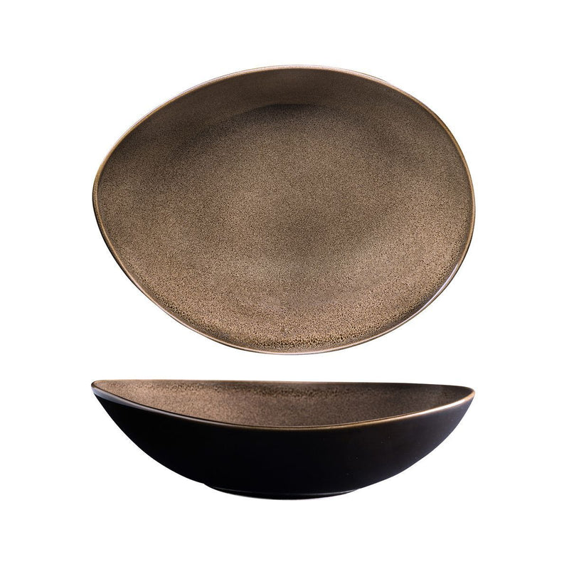 948576 Luzerne Rustic Chestnut Oval Share Bowl 230x180x57mm / 780ml Chemworks Hospitality Canberra