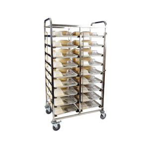 98021-KHA Healthcare Meal Delivery Trolley 9 Tier 18 Tray Stainless Steel Chemworks Hospitality Canberra