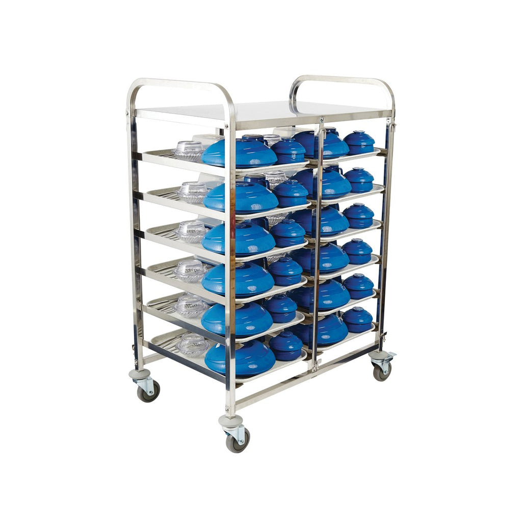 98023-KHA Healthcare Meal Delivery Trolley 6 Tier 12 Tray Stainless Steel Chemworks Hospitality Canberra