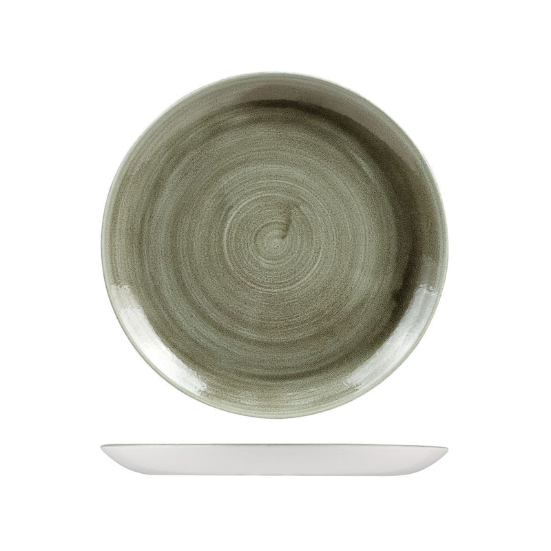 9978126-G Stonecast Patina Burnished Green Round Coupe Plate 260mm Chemworks Hospitality Canberra