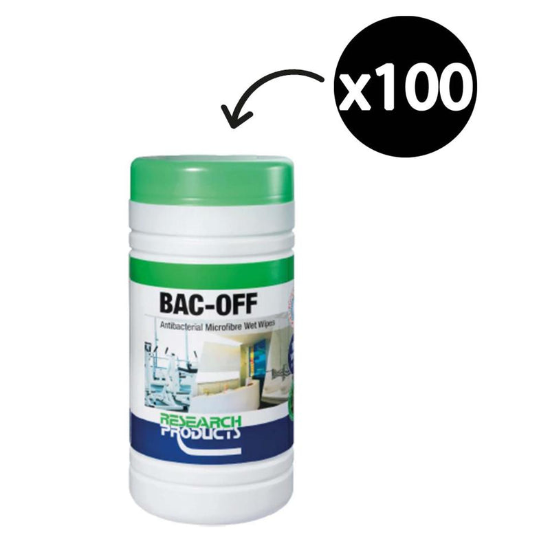 Oates Research BAC- OFF Antibacterial Microfibre Wet Wipes Cannister/100